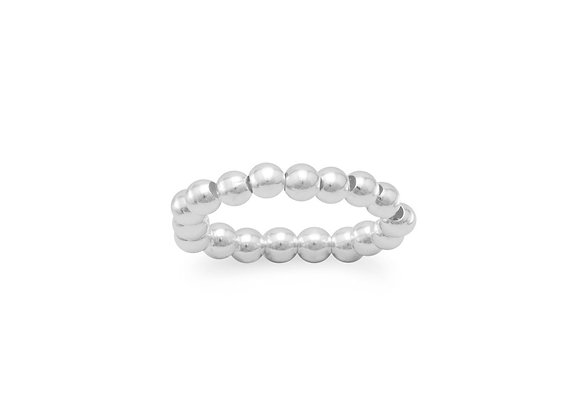 Silver Bead Stretch Toe Ring