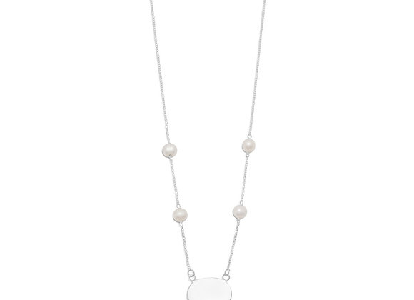 """16"""" ID Tag Necklace with White Cultured Freshwater Pearls"""