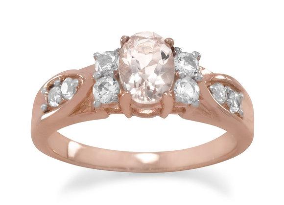 14 Karat Rose Gold Plated Morganite and White Topaz Ring