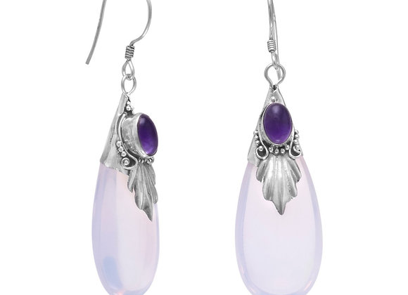 Glass and Amethyst Drop Earrings on French Wire