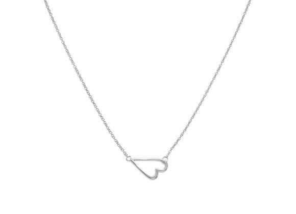 """16"""" + 2"""" Rhodium Plated Sideways Heart Necklace"""