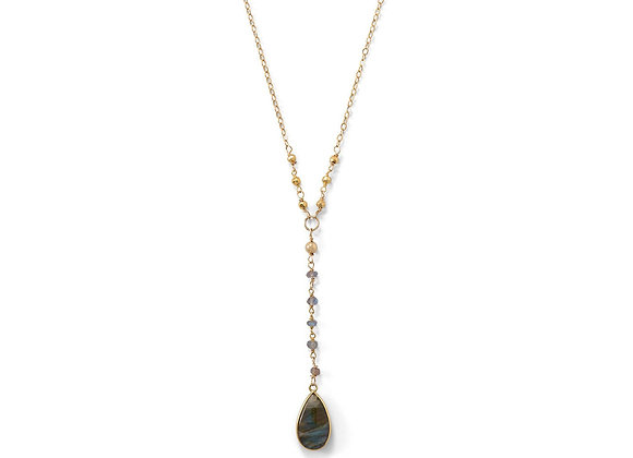 14 Karat Gold Plated Labradorite Drop Necklace