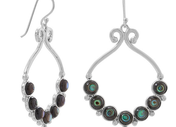 Polished Paua Shell Outline and Bead Design French Wire Earrings