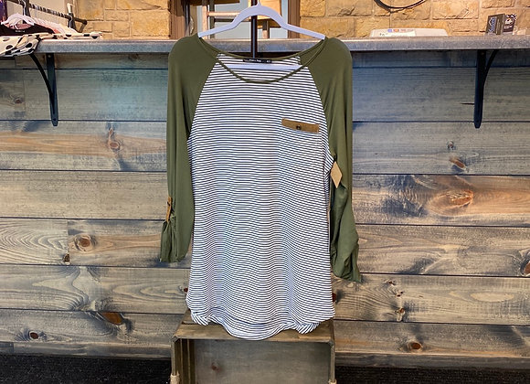 Olive 3/4 length sleeve shirt