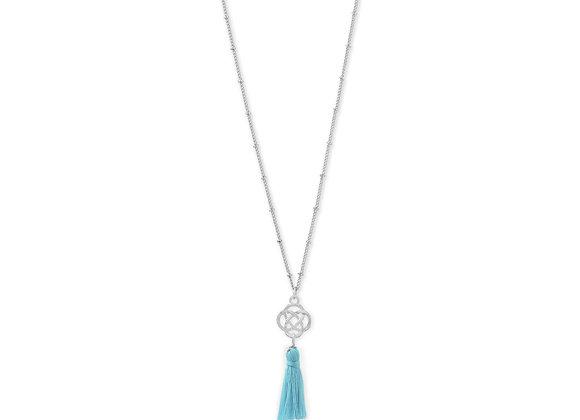 Silver Tone Celtic Charm and Aqua Tassel Necklace