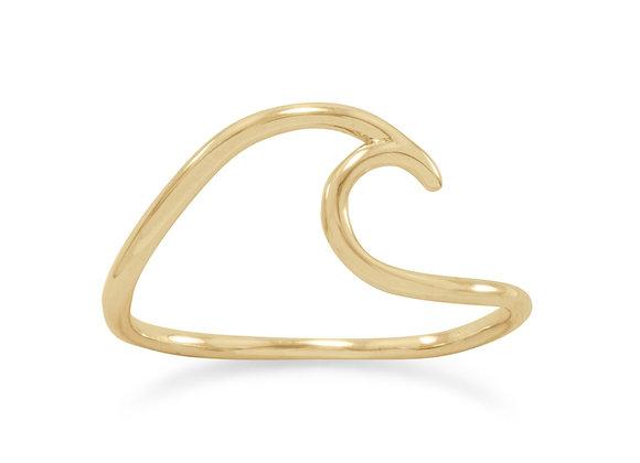 14 Karat Gold Plated Wave Ring