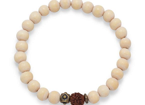 White Wood Bead Stretch Fashion Bracelet