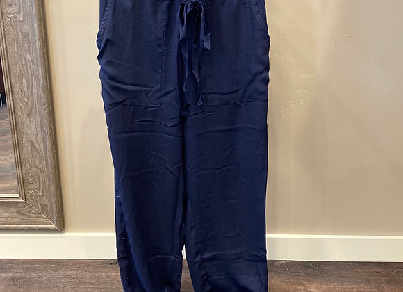 Navy Leisure Pants with side button detail