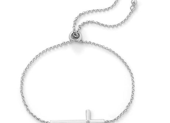 Rhodium Plated Sideways Cross Bolo Bracelet with Diamond