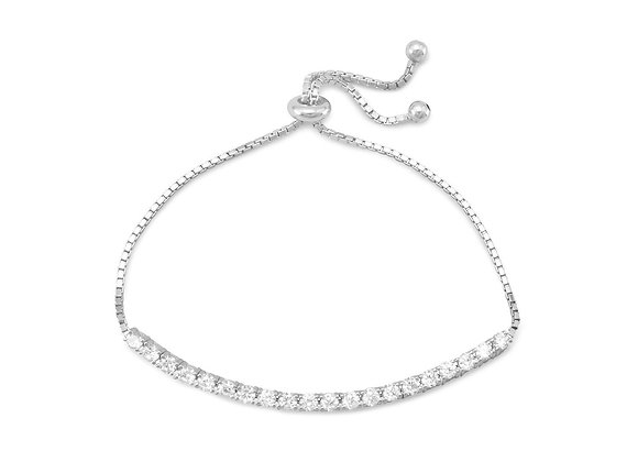Rhodium Plated CZ Friendship Bolo Bracelet