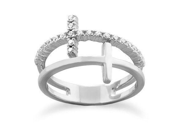 Rhodium Plated Double Cross Ring