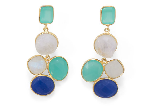 14 Karat Gold Plated Brass Multi Stone Fashion Earrings