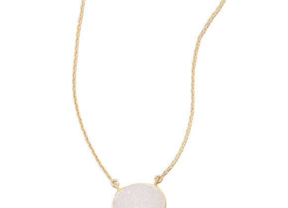 "16"" + 2"" 14 Karat Gold Plated White Druzy Necklace"