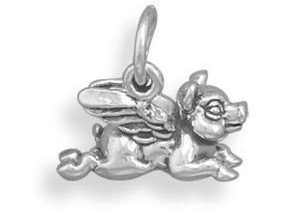 Oxidized Flying Pig Charm