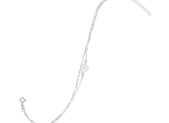 """9"""" + 1"""" Double Strand Heart Anklet"""