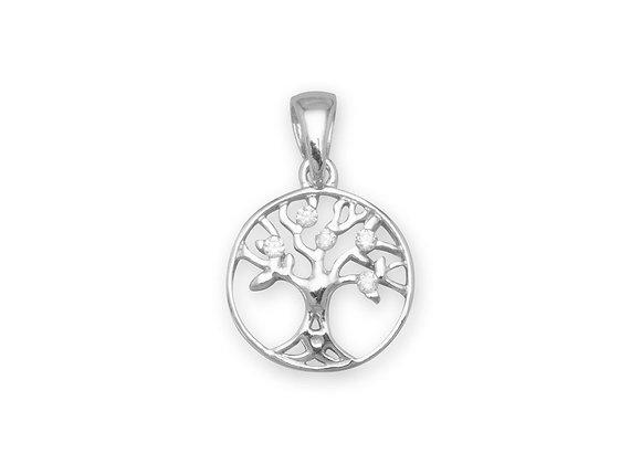 Rhodium Plated CZ Tree of Life Pendant
