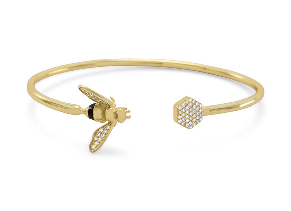 14 Karat Gold Plated and Signity CZ Bee Flex Cuff