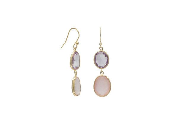 14 Karat Gold Plated Quartz and Amethyst Drop Earrings