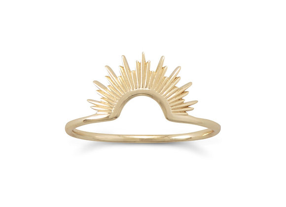 14 Karat Gold Plated Sunburst Ring