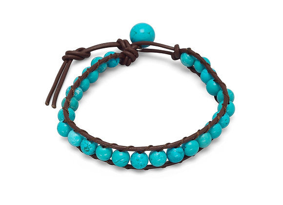 """7""""+1"""" Leather and Magnesite Bracelet"""