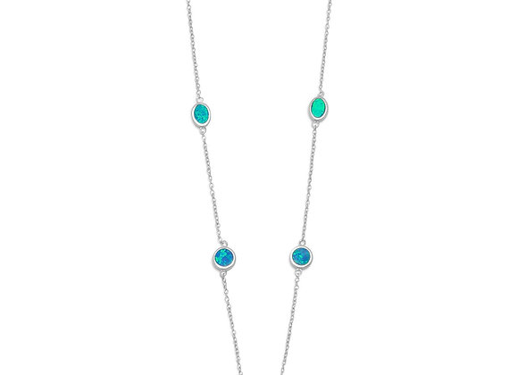 """16"""" + 2"""" Rhodium Plated Synthetic Blue Opal Necklace"""