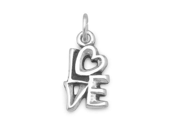 """Oxidized """"LOVE"""" Charm"""