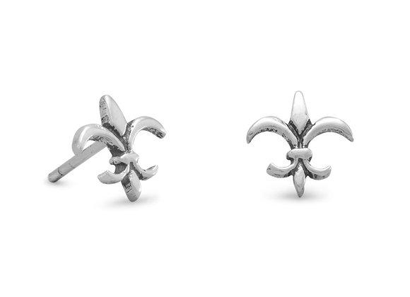Small Oxidized Fleur de Lis Post Earrings