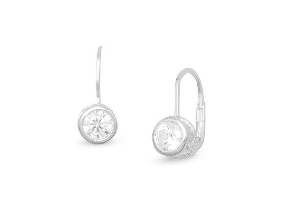 Bezel CZ Lever Earrings