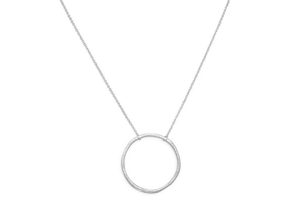 """16"""" Textured Circle Necklace"""