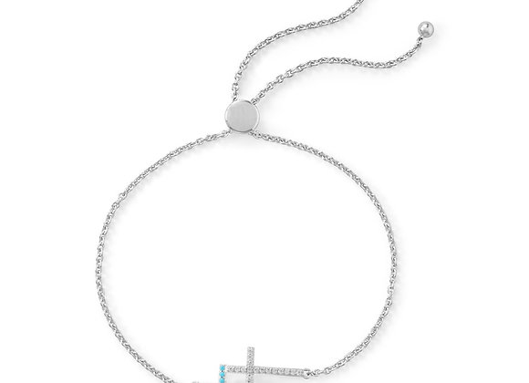 Rhodium Plated Double Cross Friendship Bolo Bracelet