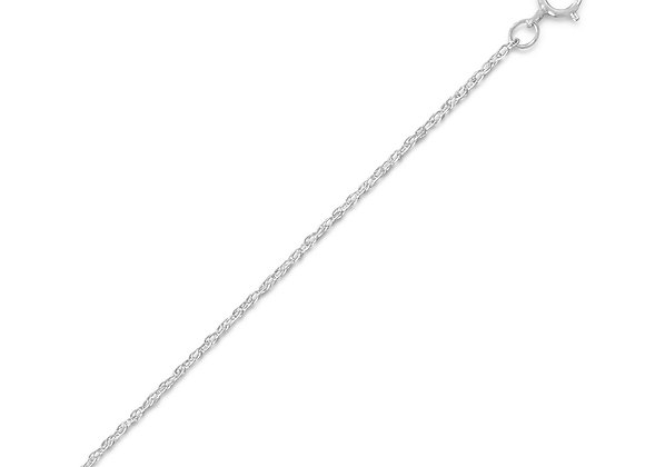 Rhodium Plated Light Rope Chain Necklace (1.1mm)