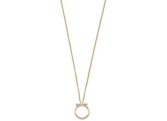 18 Karat Gold Plated CZ Bar and Circle Necklace