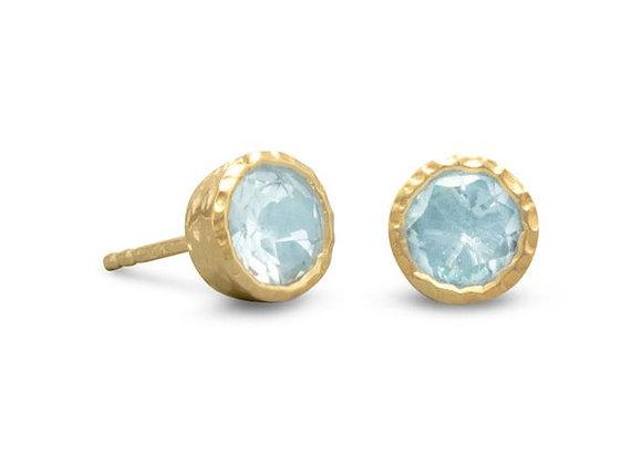 14 Karat Gold Plated Silver Blue Topaz Stud Earrings