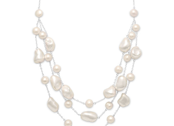 "16""+2"" Extension Graduated Shell and Cultured Freshwater Pearl Necklace"