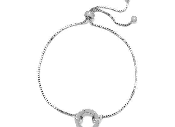 Rhodium Plated Adjustable Circle Hinge Charm Capable Bolo Bracelet