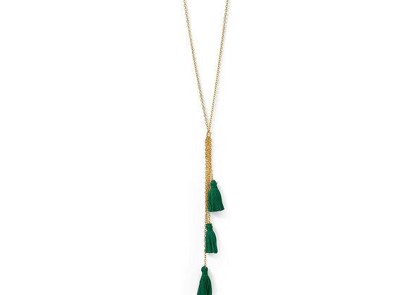 Gold Tone Multi-Strand Green Threaded Tassel Necklace