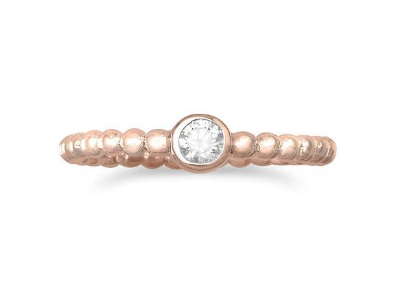 14 Karat Rose Gold Plated CZ Ring