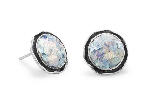 Round Oxidized Edge Roman Glass Earrings