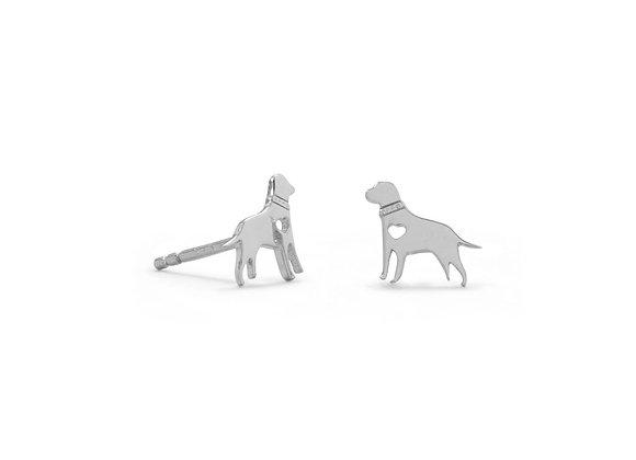 Rhodium Plated Darling Dog Studs
