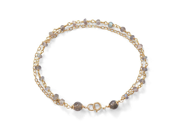 Double Strand 14 Karat Gold Plated Labradorite Beaded Bracelet