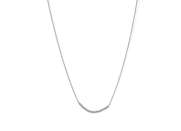 Rhodium Plated 2mm Bead Bar Necklace