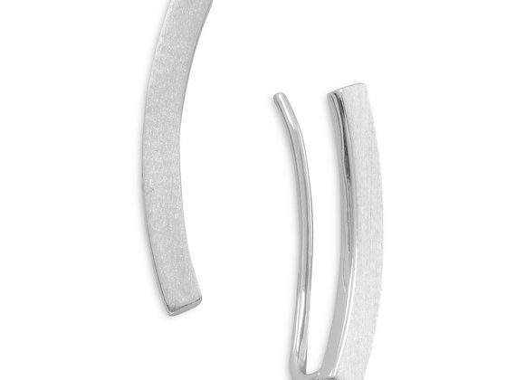 Rhodium Plated Curved Bar Ear Climbers