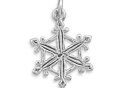 Oxidized Snowflake Charm