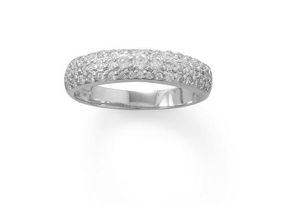 Rhodium Plated Three Row Domed CZ Ring