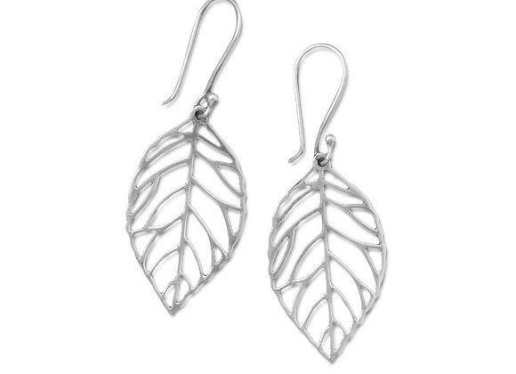 Oxidized Cut Out Leaf Drop Earrings