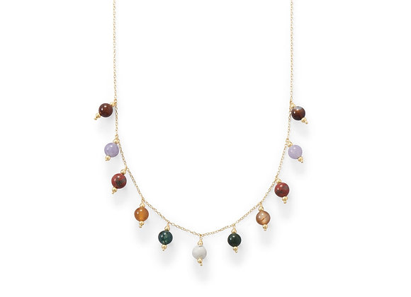 14 Karat Gold Plated Multi Stone Charm Necklace