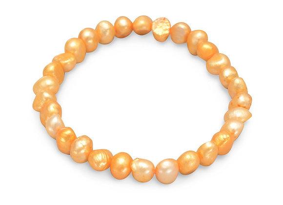 Orange Cultured Freshwater Pearl Stretch Bracelet