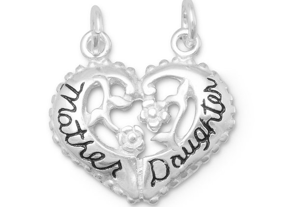Heart Shaped Mother/Daughter Break-Away Charm