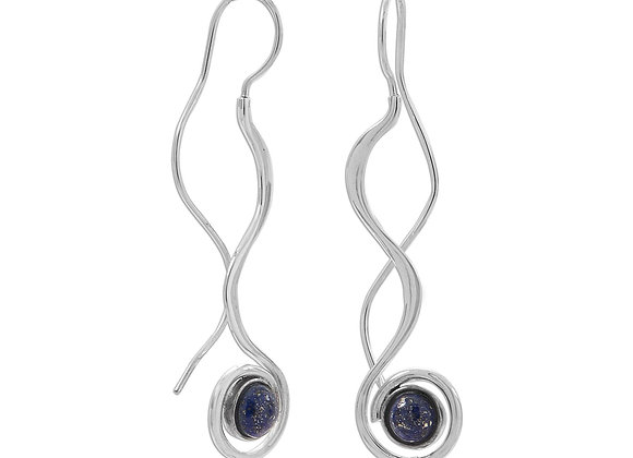 Polished Long Wavy Threader Earrings with Lapis