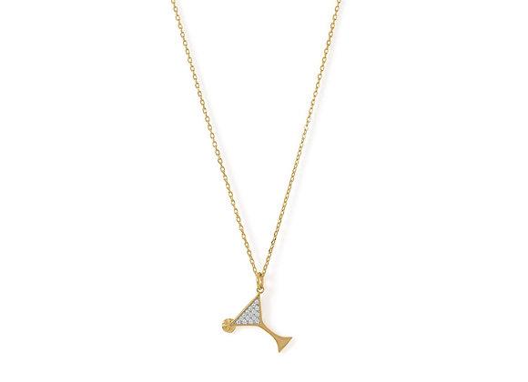 14 Karat Gold Plated CZ Martini Charm Necklace